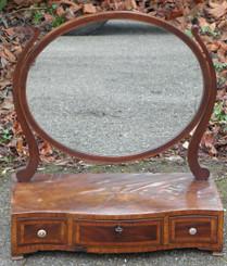 Antique 19C mahogany inlaid toilet dressing room mirror