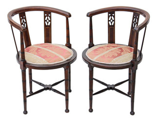 Antique pair of Edwardian mahogany corner arm chairs bedroom tub side hall