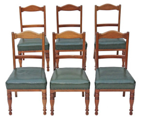 Antique quality set of 6 Victorian C1900 walnut leather dining chairs
