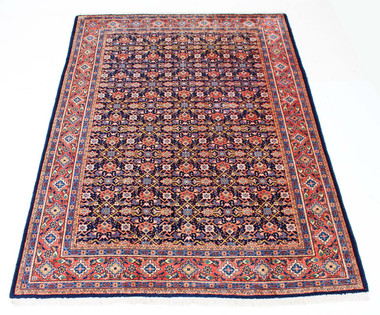 """Antique large Persian hand woven wool rug carpet blue terracotta ~7'4"""" x 10'"""