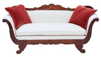 Antique quality Regency William IV scroll arm sofa chaise longue mahogany