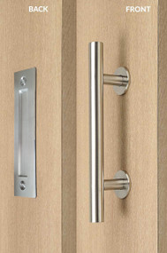 Barn Door Pull and Flush Tubular Door Handle Set (Brushed Satin Stainless Steel Finish)