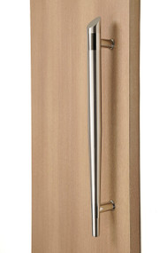 Olympic Torch Ladder Pull Handle - Back-to-Back (Brushed Satin Grip / Polished Stainless Steel Bands)
