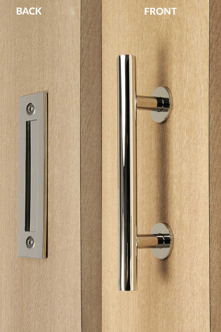 Pull And Flush Door Handle Set Polished Finish
