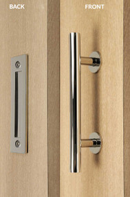 Barn Door Pull and Flush Tubular Door Handle Set  (Polished Stainless Steel Finish)