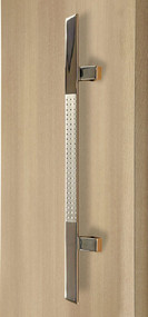 45º Offset Triangular Pull Handle - Back-to-Back (Brushed Satin Grip / Polished Stainless Steel Ends)