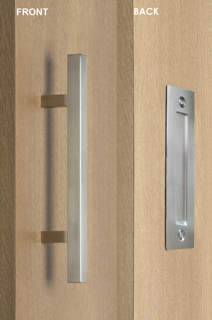 Pull and Flush Door Handle Set (Satin Finish)