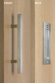 Barn Door Pull and Flush Square Door Handle Set  (Brushed Satin Stainless Steel Finish)