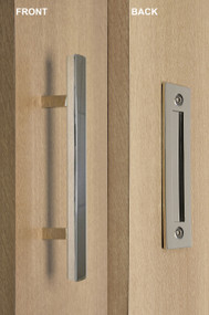 Barn Door Pull and Flush Square Door Handle Set (Polished Stainless Steel Finish)