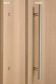 One Sided Ladder Pull Handle with Decorative Fixing (Brushed Satin Stainless Steel Finish)