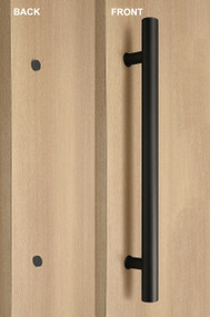 One Sided Ladder Pull Handle with Decorative Fixing (Black Powder Stainless Steel Finish)