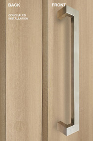 """One Sided 45º Offset 1.5"""" x 1"""" Rectangular Pull Handle with Concealed Fixing (Brushed Satin Stainless Steel Finish)"""