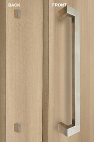 """One Sided 45º Offset 1.5"""" x 1"""" Rectangular Pull Handle with Decorative Fixing (Brushed Satin Stainless Steel Finish)"""