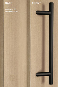 One Sided 45º Offset Ladder Pull Handle with Concealed Fixing (Black Powder Stainless Steel Finish)