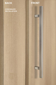 "One Sided 1"" x 1"" Square Ladder Pull Handle with Concealed Fixing (Brushed Satin Stainless Steel Finish)"