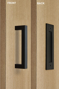 Barn Door Pull And Flush Rectangular Door Handle Set (Black Powder  Stainless Steel Finish)