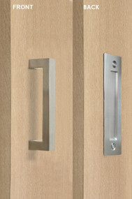 Barn Door Pull and Flush Rectangular Door Handle Set  (Brushed Satin Stainless Steel Finish)