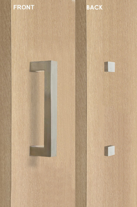 barn door pull square door handle set with decorative fixings (brushed satin stainless steel finish)