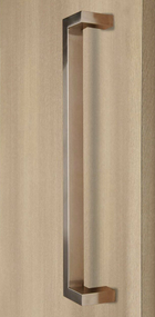 "45º Offset 1"" x 1.5"" Rectangular Pull Handle - Back-to-Back (Brushed Satin Stainless Steel Finish)"