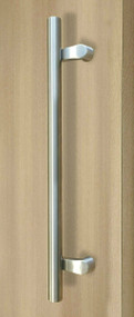 Pro-Line Series:  PostMount Offset Pull Handle - Back-to-Back, Brushed Satin US32D/630 Finish, 316 Marine Grade Stainless Steel Alloy