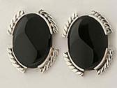 Large Black Onyx Sterling Silver Earrings