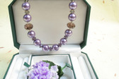 Purple Crystal, Mother of Pearl, and Amethyst Necklace