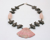 Rhodonite and Hematite Large Pink Shell Necklace