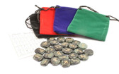 Green Black Jasper Rune Stones With Pouch