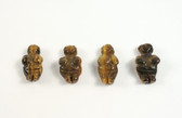 Tiger's Eye Venus of Willendorf Brown Beads 4 Pieces with 1.3mm Hole