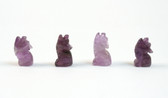 Amethyst Wolf Beads Carved Purple Stone Beads Set of 4 with 1.3mm Hole