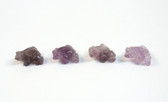 Amethyst Frog Beads Purple Stone Beads Set of 4 with 1.3mm Hole