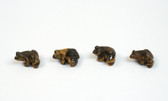 Tiger's Eye Frog Brown Beads Set of 4 with 1.3mm Hole