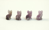 Amethyst Cat Beads Purple Stone Beads Set of 4 with 1.3mm Hole