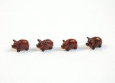 Red Jasper Pig Beads Red Brown Stone Animal Beads Set of 4 with 1.3mm Hole