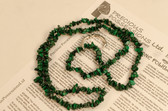 Malachite Necklace Chip Beads Nuggets Long Green Strand 35 Inch with Clasp