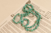 Turquoise Necklace Chip Beads Nuggets Long Blue Strand 34 Inch with Clasp