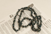Apatite Necklace Chip Beads Nuggets Long Blue Green Strand 34 Inch with Clasp