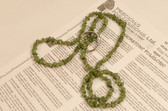 Peridot Necklace Chip Beads Nuggets Long Green Strand 32 Inch with Clasp
