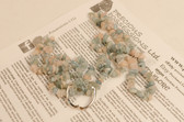 Aquamarine and Morganite Necklace Chip Beads Nuggets Long Blue Green Pink Strand 34 Inch with Clasp
