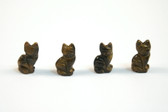 Tiger's Eye Cat Beads Brown Stone Animal Beads Set of 4 with 1.3mm Hole