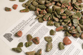 "Unakite 1/4 Lb Tumbled Stones Size Small Green Pink Jasper Stones .55-1.30"""