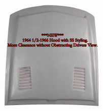 """M-321 """"NEW"""" 1964 1/2-1966 Ford Mustang Fiberglass Hood with SS Styling. This hood affords extra room under the hood for clearance for those higher manifolds or custom engines. 3 1/4"""" depth measurement at shock towers and 4 1/2"""" towards the back."""