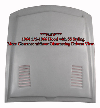 "M-321 ""NEW"" 1964 1/2-1966 Ford Mustang Fiberglass Hood with SS Styling. This hood affords extra room under the hood for clearance for those higher manifolds or custom engines. 3 1/4"" depth measurement at shock towers and 4 1/2"" towards the back."