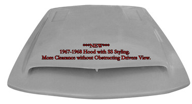 """M-322 """"NEW"""" 1967-1968 Ford Mustang Fiberglass Hood with SS Styling. This hood affords extra room under the hood for clearance for those higher manifolds or custom engines. 3 1/4"""" depth measurement at shock towers and 4 1/2"""" towards the back."""