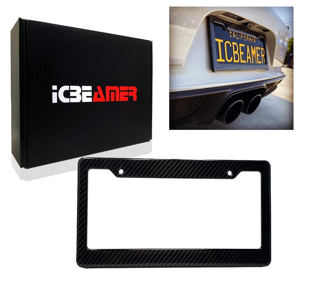 1 Black Carbon Fiber Custom License Plate Tag Snap Fit Frames for ...