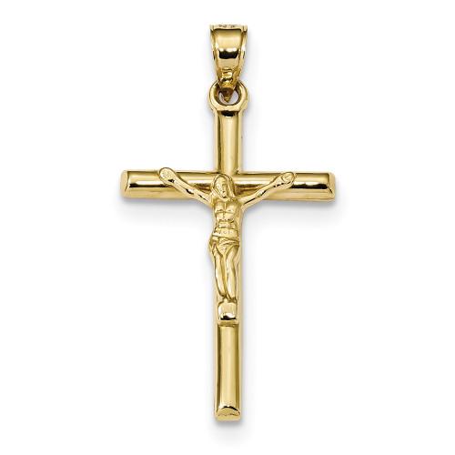 10k Yellow Gold Hollow Crucifix Pendant 10C1342-Lex and Lu