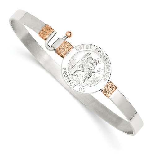 Sterling Silver & 14k Rose Accent St. Christopher Hook Catch Bangle QB752-Lex and Lu