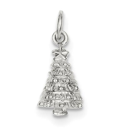 Sterling Silver Christmas Tree Charm QC843-Lex and Lu
