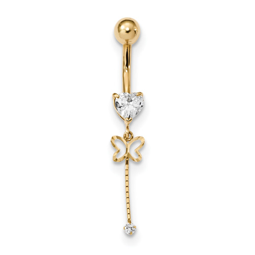 14k Yellow Gold 14 Gauge CZ Butterfly Chain Dangle Belly Ring BD140-Lex and Lu
