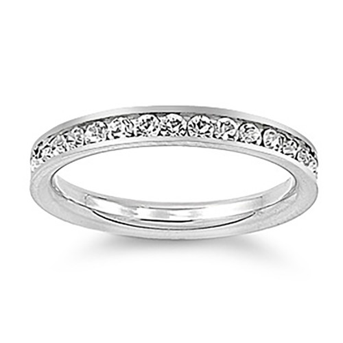 Lex and Lu 3mm Stainless Steel Clear CZ Eternity Comfort Fit Band Ring Size 3-9